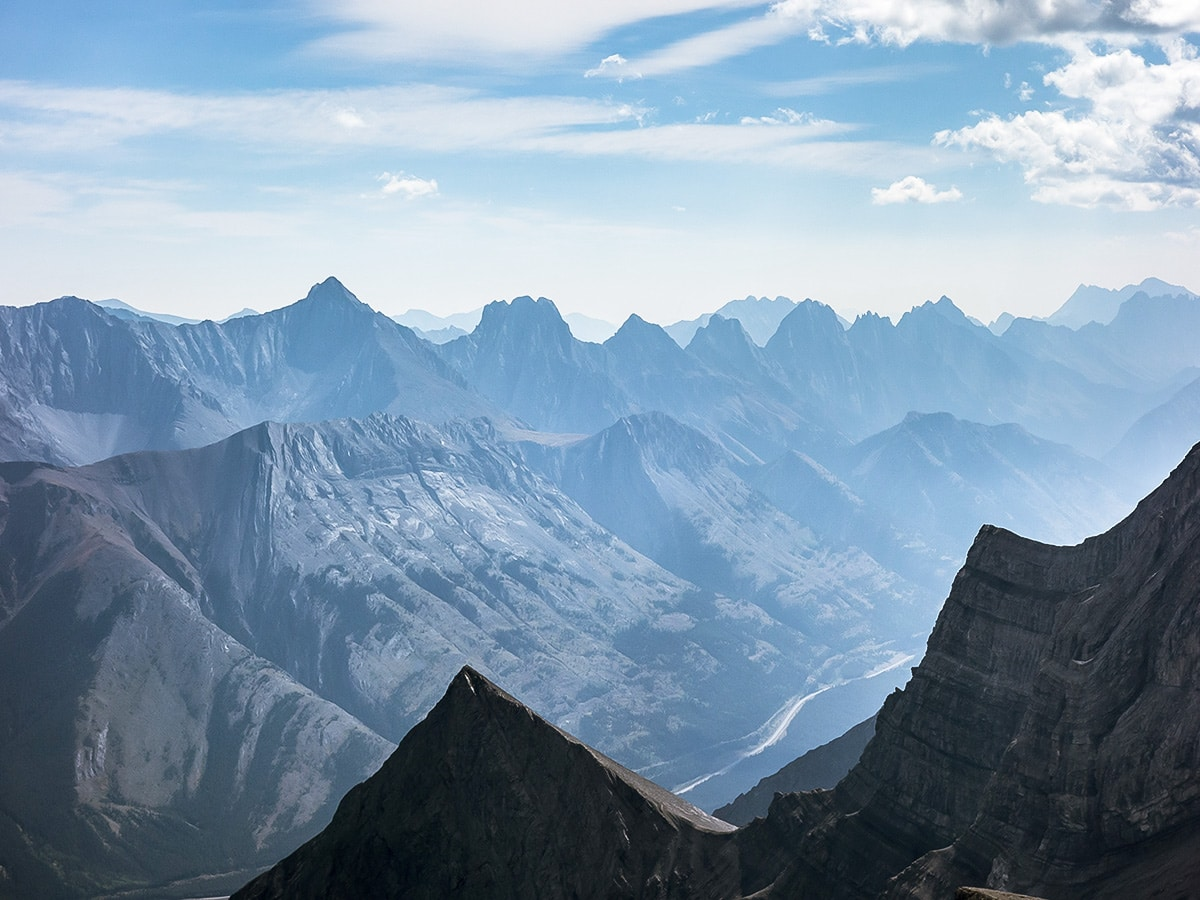 Panoramic views from The Fortress scramble in Kananaskis near Canmore, the Canadian Rockies