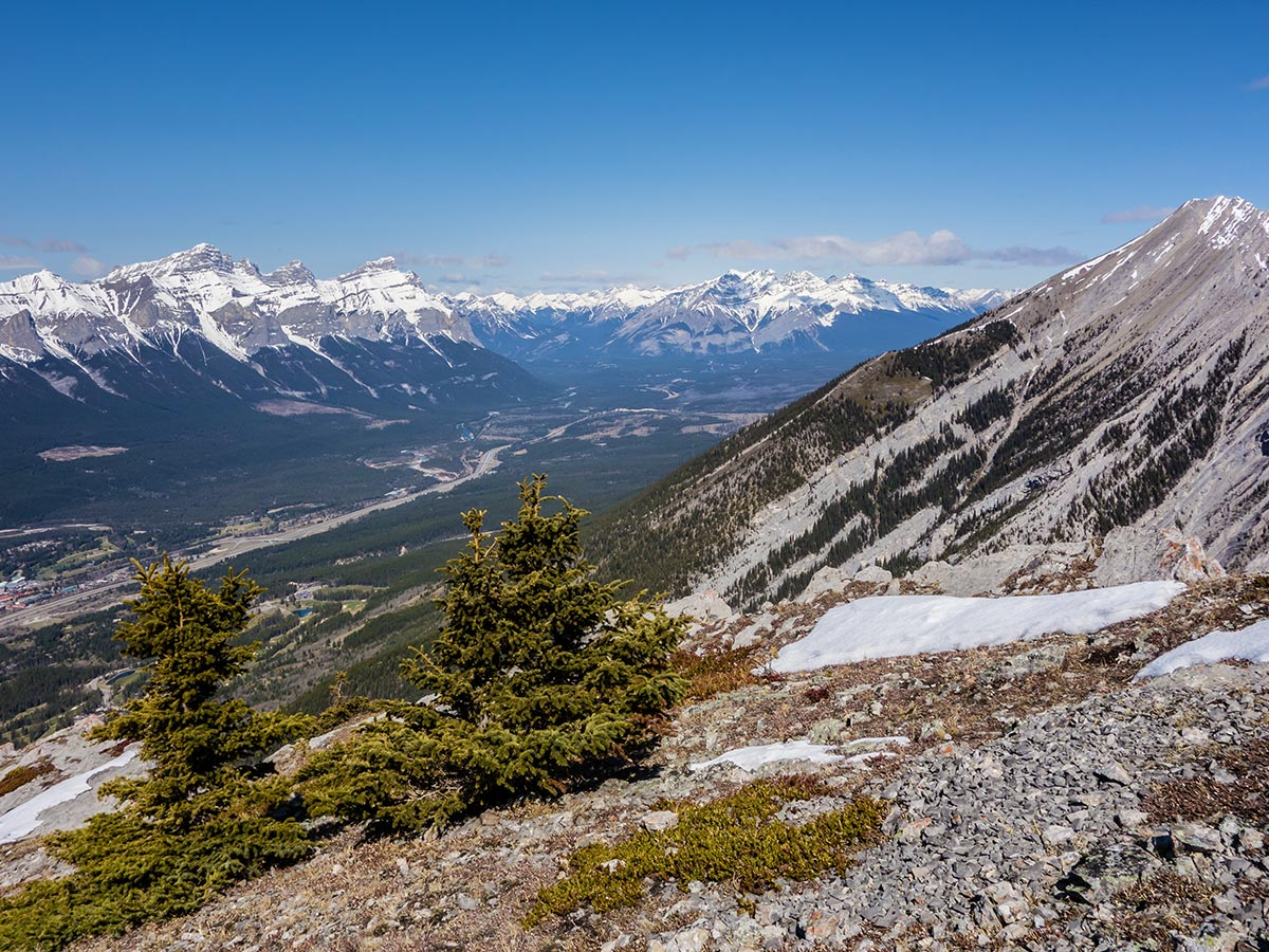 Looking towards Banff on Grotto Mountain scramble in Canmore, the Canadian Rockies