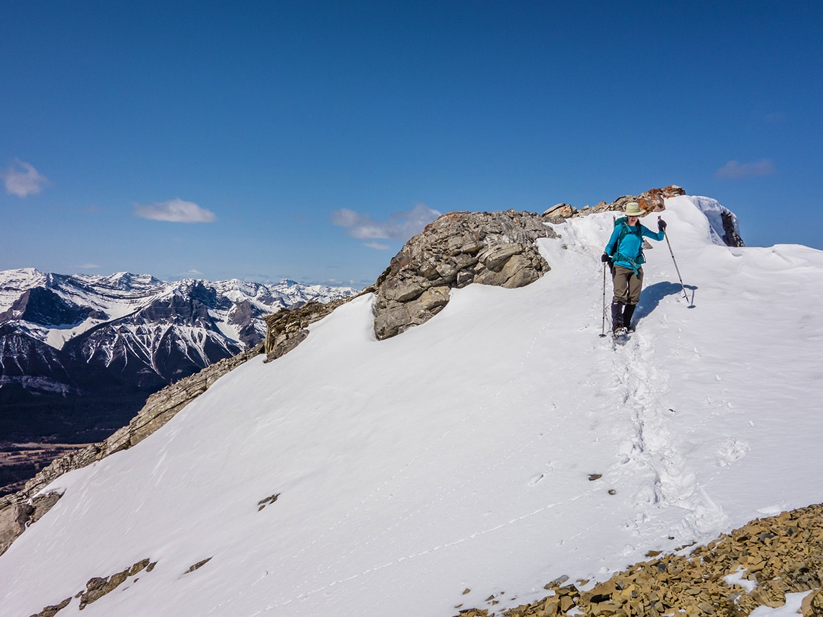 Snowfields on Grotto Mountain scramble in Canmore, the Canadian Rockies