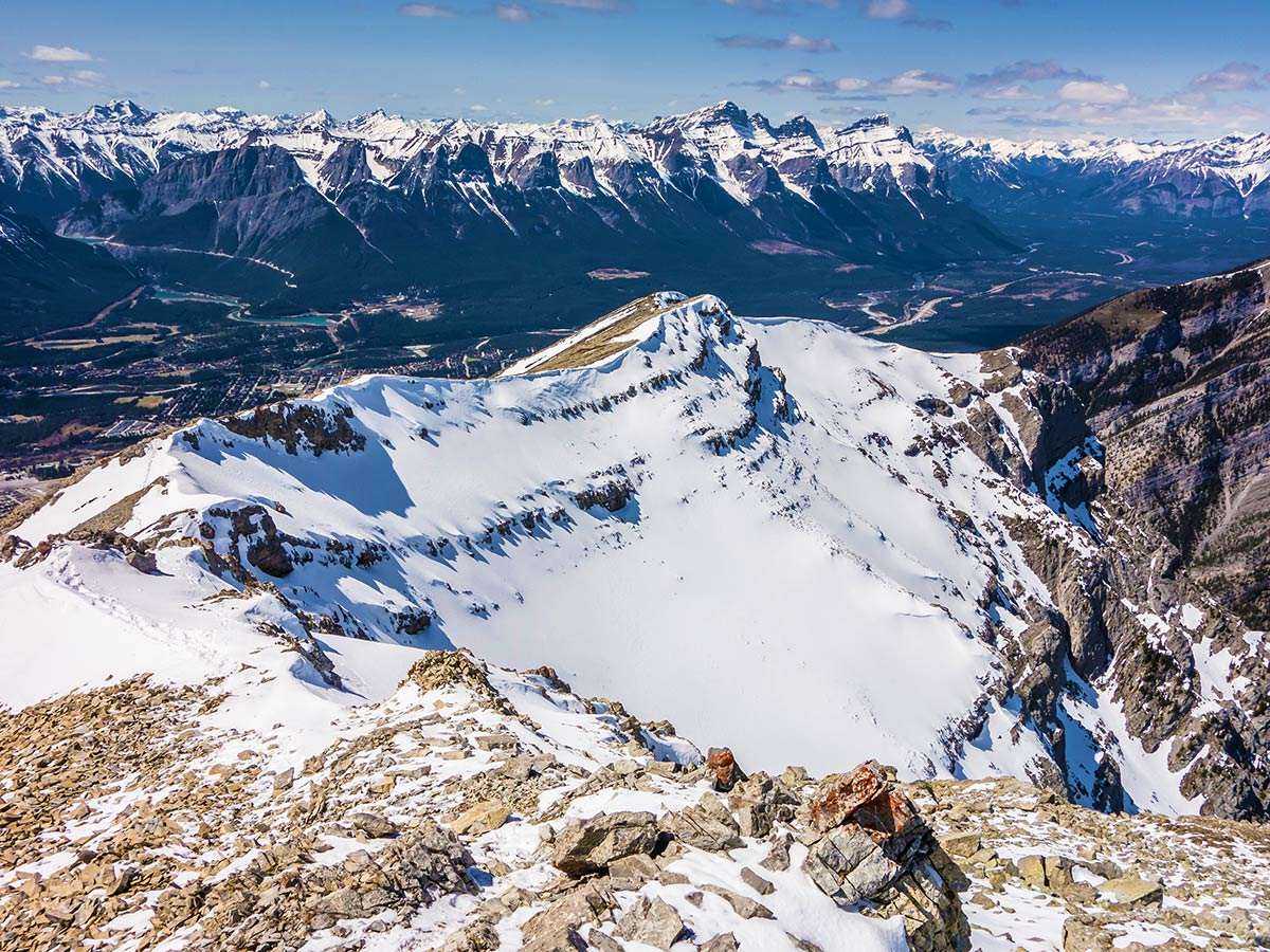 Hiking on Grotto Mountain scramble in Canmore, the Canadian Rockies