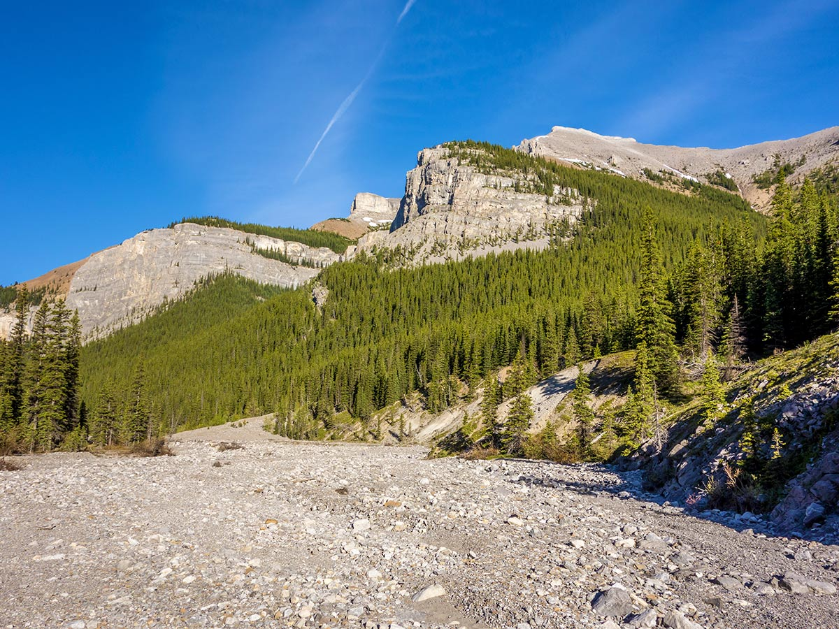 The cliffs on Mt Bryant on Mount Howard scramble in Kananaskis near Canmore, the Canadian Rockies