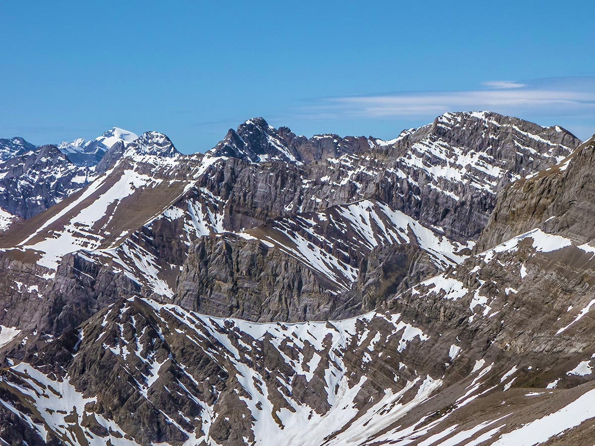 View from the summit of Mount Howard scramble in Kananaskis near Canmore, the Canadian Rockies