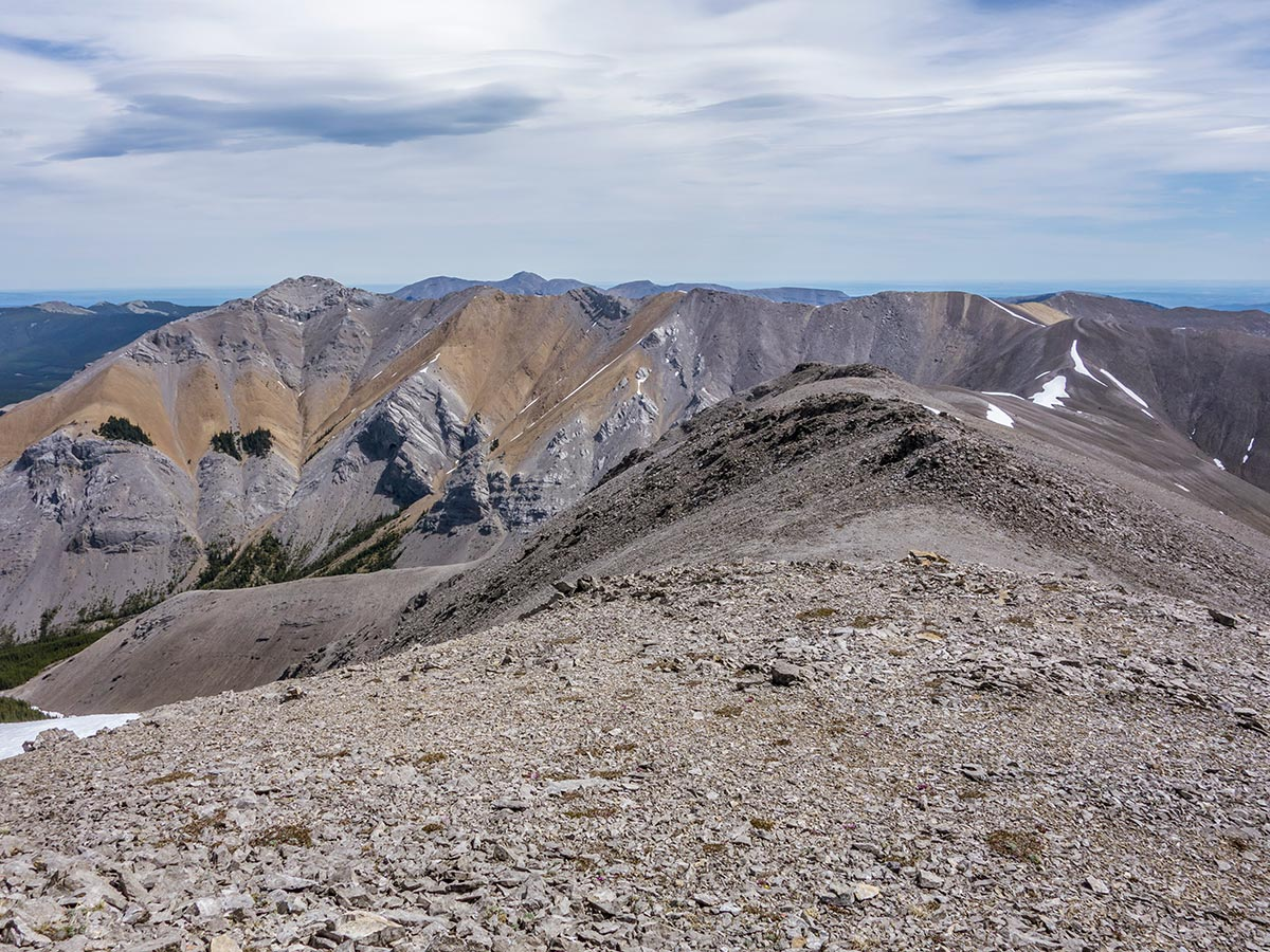 Stunning views of Mount Howard scramble in Kananaskis near Canmore, the Canadian Rockies