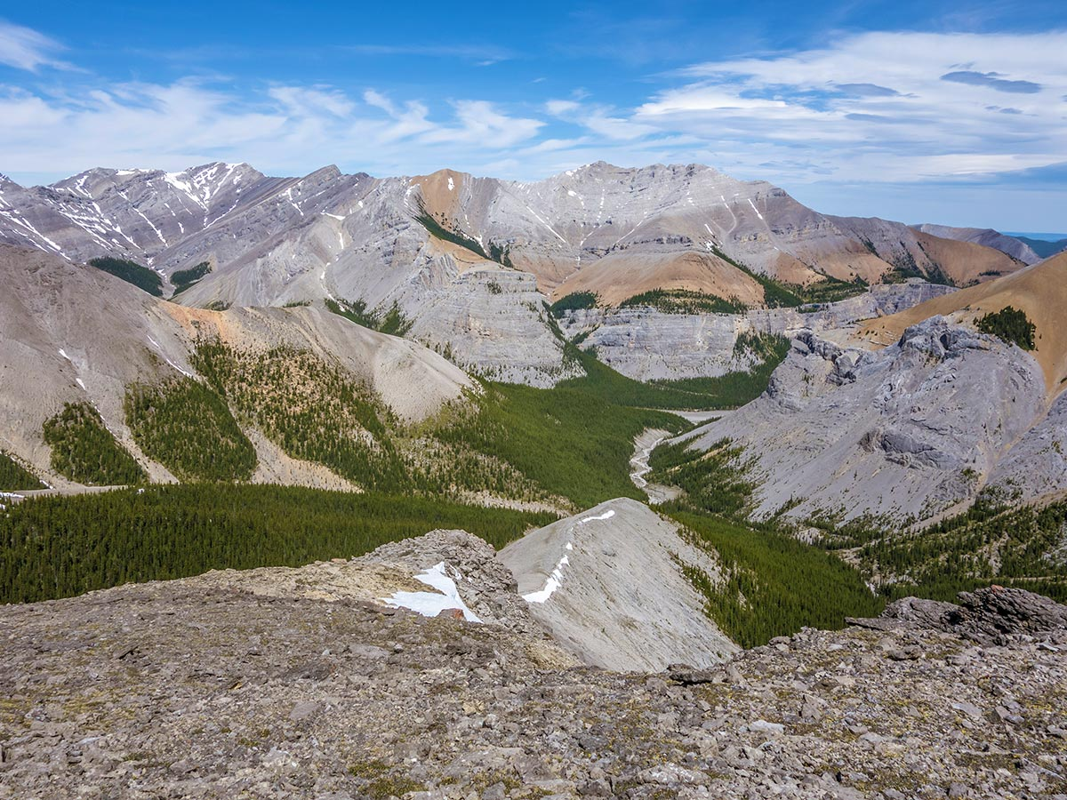 Hiking down the ridge on Mount Howard scramble in Kananaskis near Canmore, the Canadian Rockies