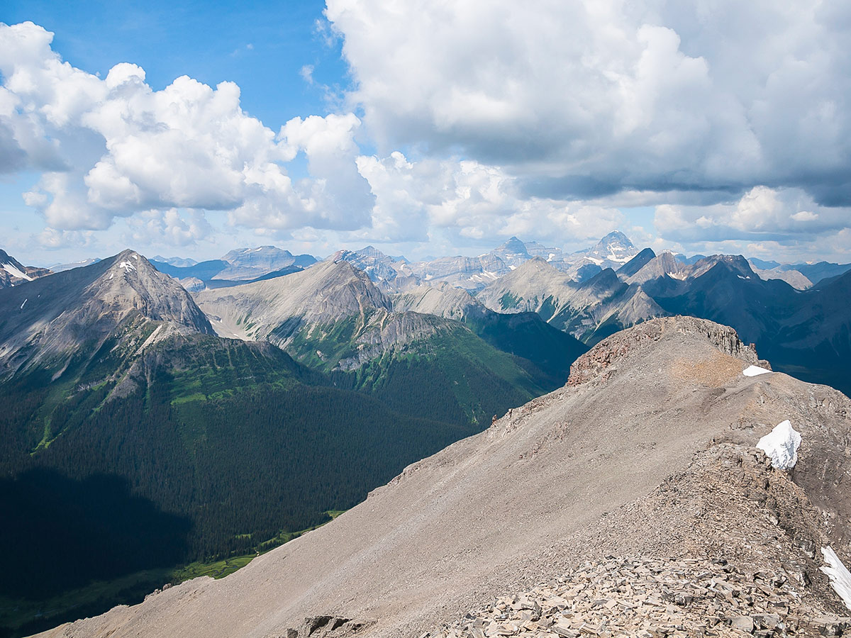 Trail of Snow Peak scramble in Kananaskis near Canmore, the Canadian Rockies