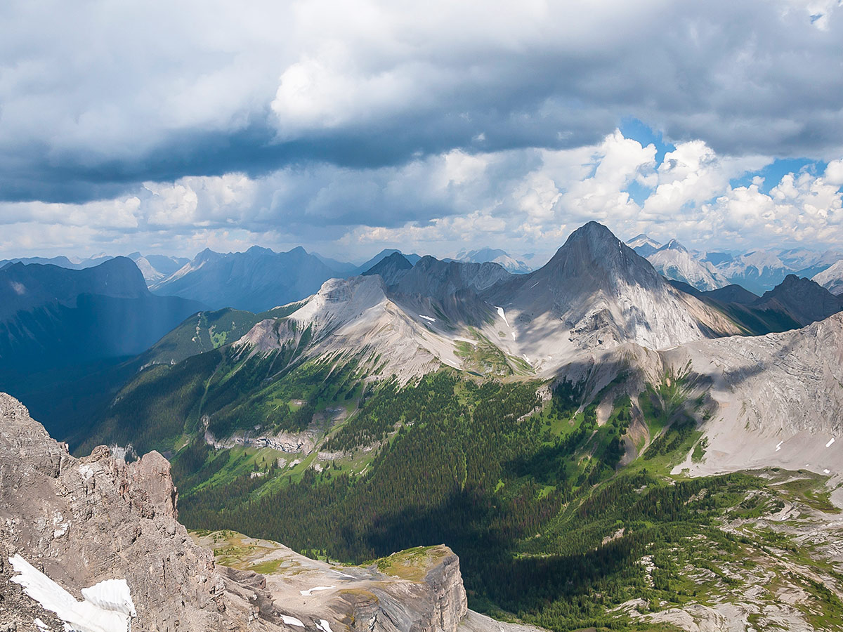 Mt Smuts and Smuts Pass on Snow Peak scramble in Kananaskis near Canmore, the Canadian Rockies