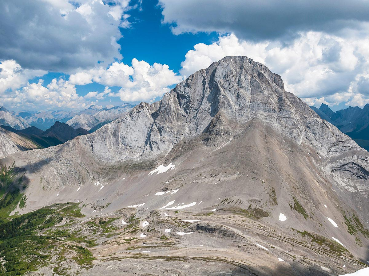 Mt Birdwood from the summit of Snow Peak scramble in Kananaskis near Canmore, the Canadian Rockies