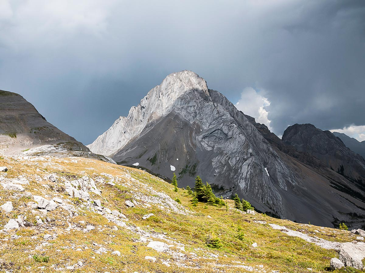 Thunderstorm coming on Snow Peak scramble in Kananaskis near Canmore, the Canadian Rockies