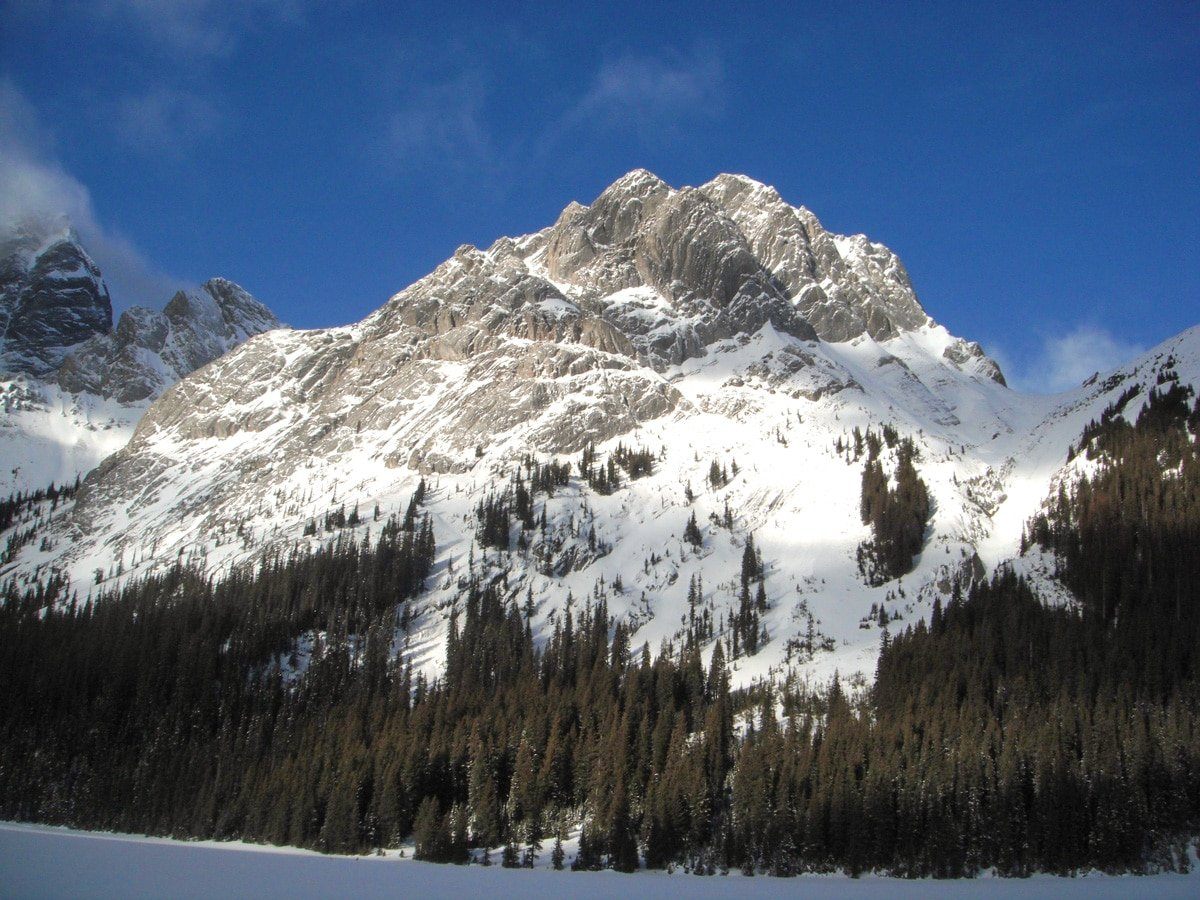 Great views on Burstall Lakes snowshoe trail in Kananaskis near Canmore