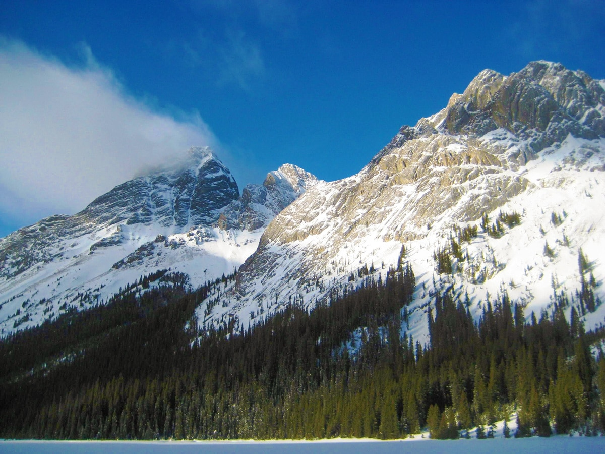 Scenery on Burstall Lakes snowshoe trail in Kananaskis near Canmore