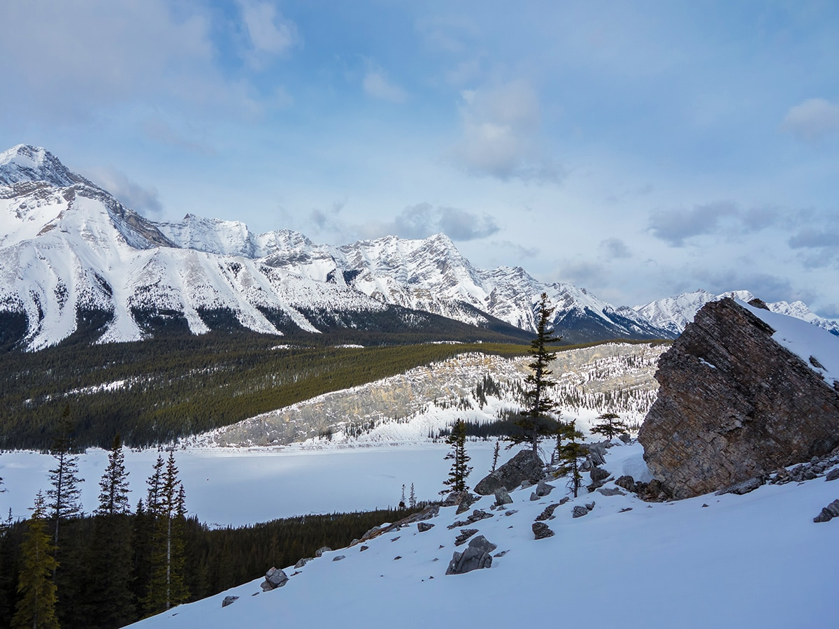 View from the ascent of Little Lougheed snowshoe trail in Kananaskis near Canmore