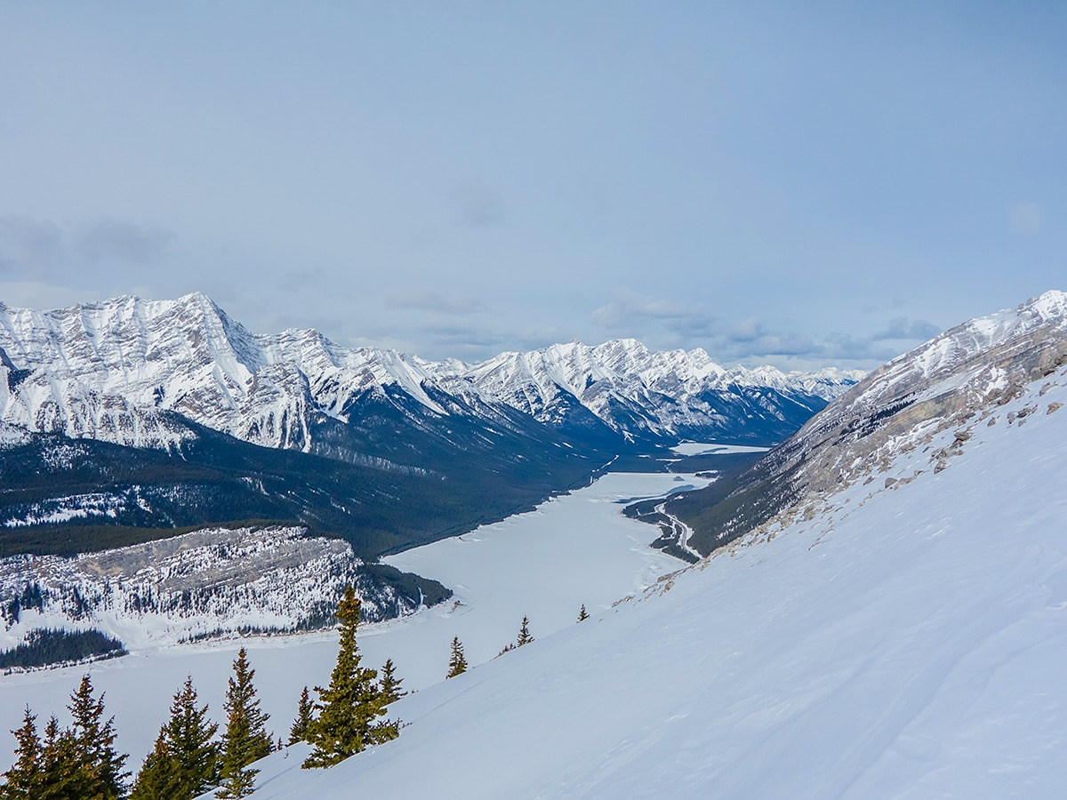 Views north from Little Lougheed snowshoe trail in Kananaskis near Canmore
