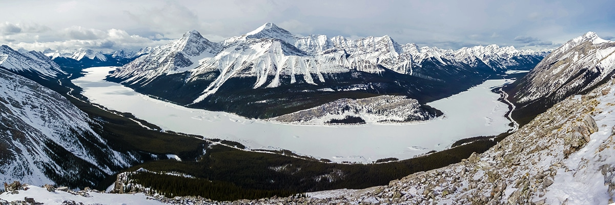 Stunning panorama of Spray Lakes from Little Lawson on Little Lougheed snowshoe trail in Kananaskis near Canmore