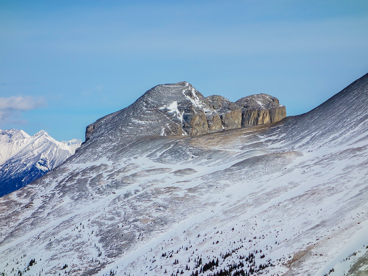 View across to Windtower on Little Lougheed snowshoe trail in Kananaskis near Canmore
