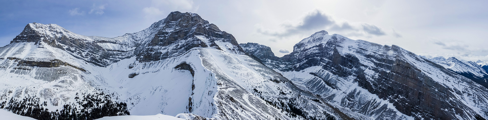 Panorama of Little Lougheed snowshoeing trail in Kananaskis near Canmore
