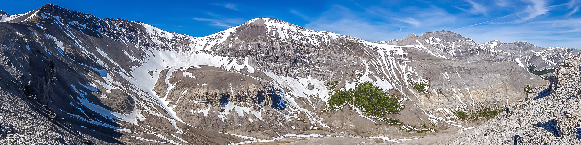 Panorama from Mount Howard scramble in Kananaskis, the Canadian Rockies