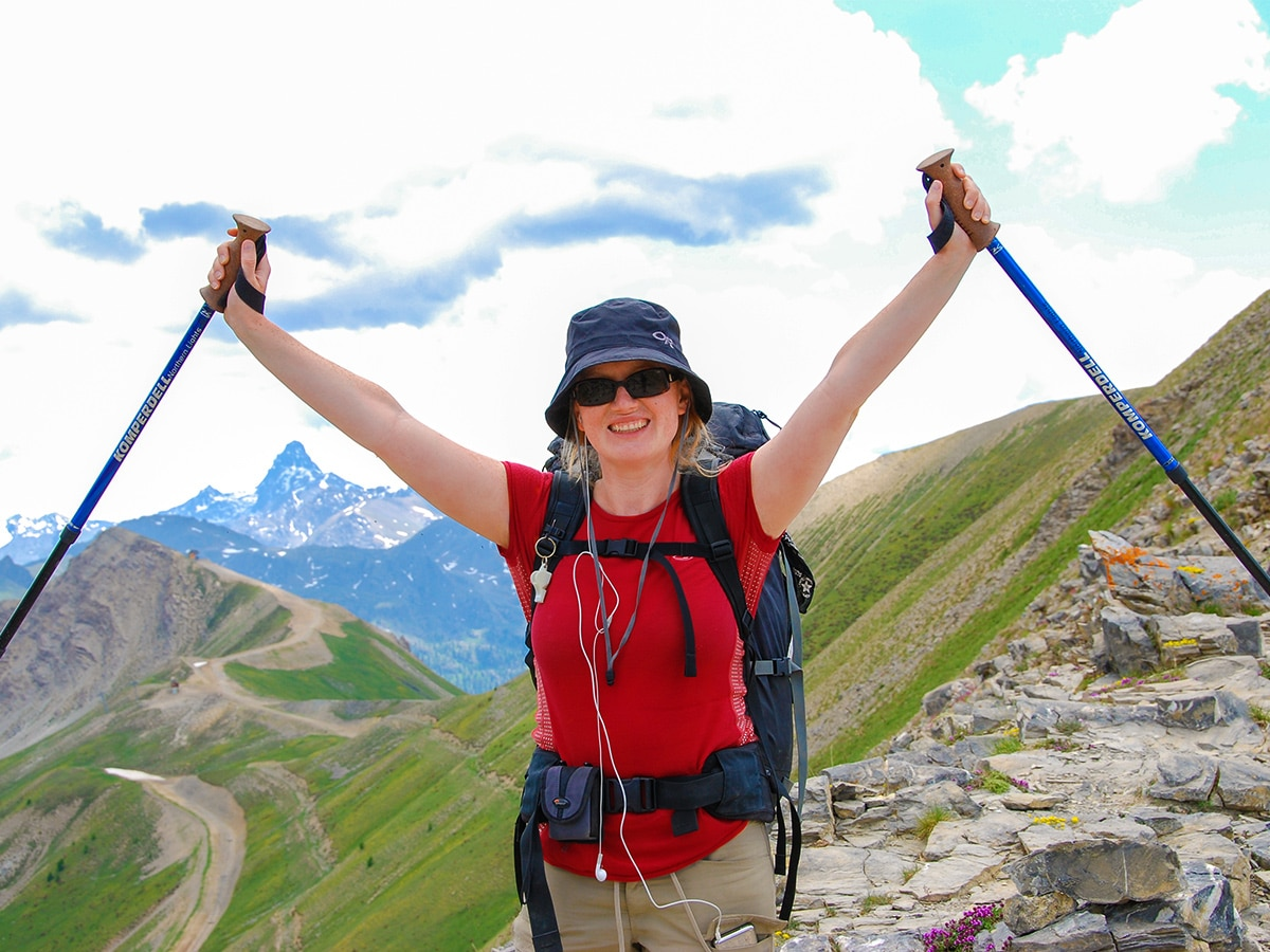Happy hiker on GR5 backpacking trip in Alps