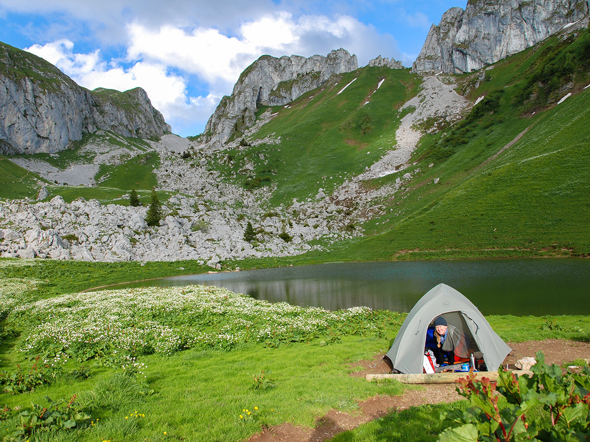 Camping tent on GR5 backpacking trip in Alps