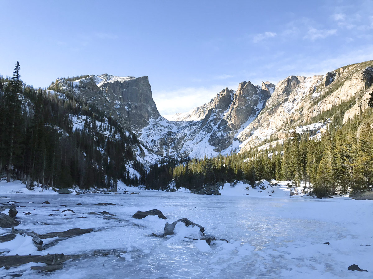 Winter views on Dream Lake snowshoe trail in Rocky Mountain National Park, Colorado