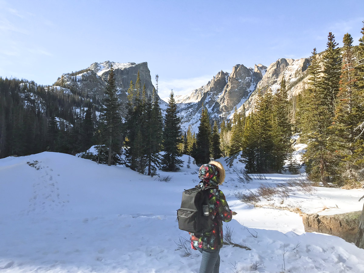 Hike on Dream Lake snowshoe trail in Rocky Mountain National Park, Colorado