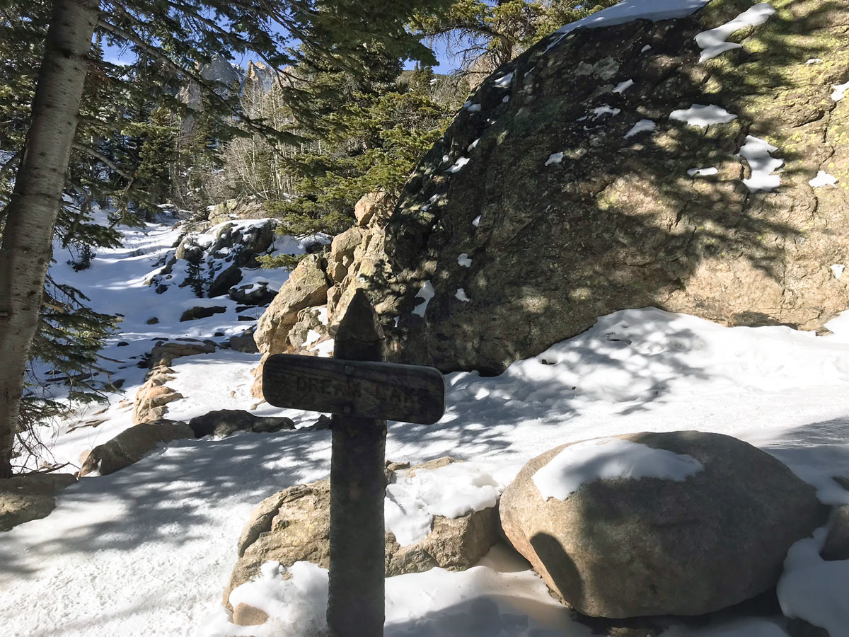 Sign of Dream Lake snowshoe trail in Rocky Mountain National Park, Colorado