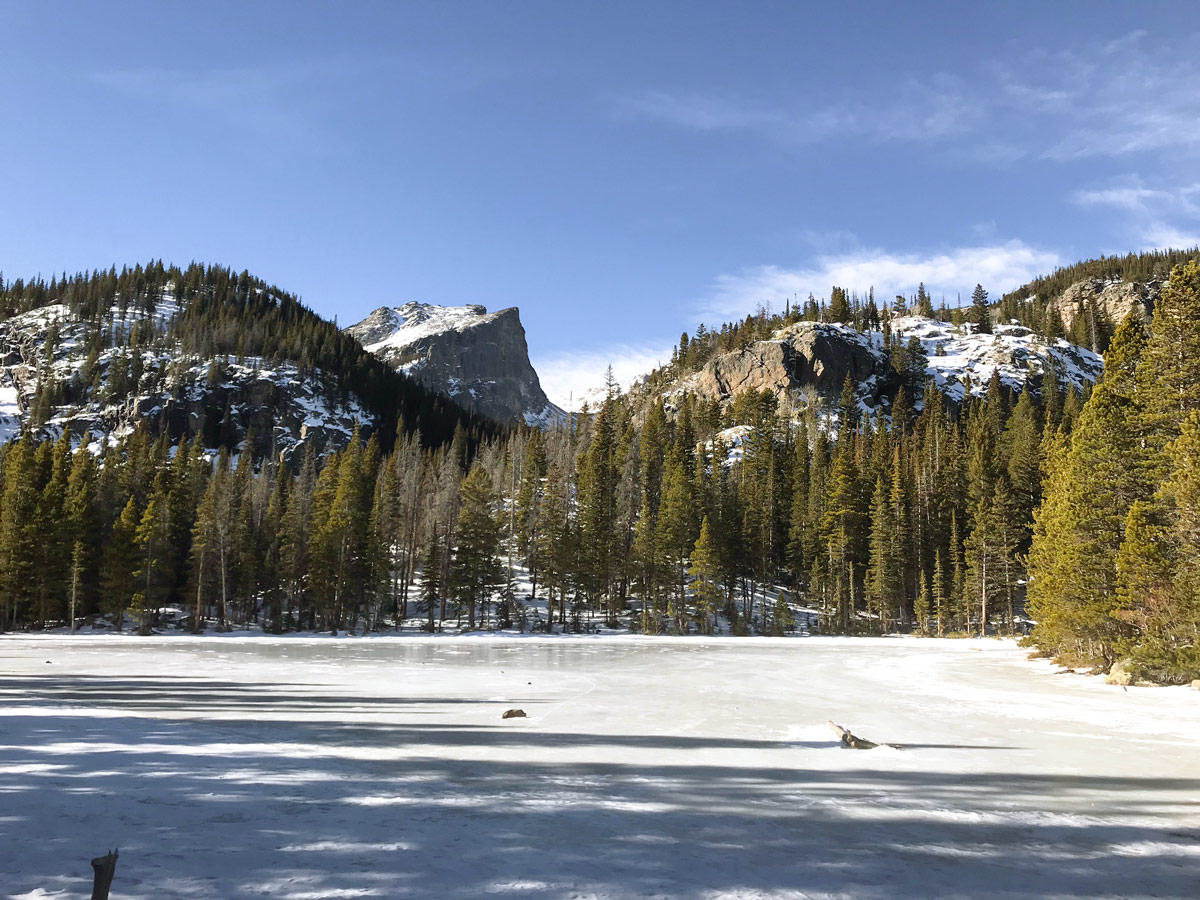 Beautiful lake of Dream Lake snowshoe trail in Rocky Mountain National Park, Colorado