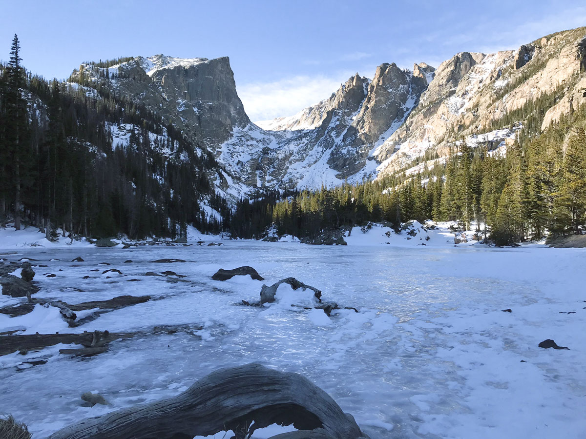 Overview of Dream Lake snowshoe trail in Rocky Mountain National Park, Colorado
