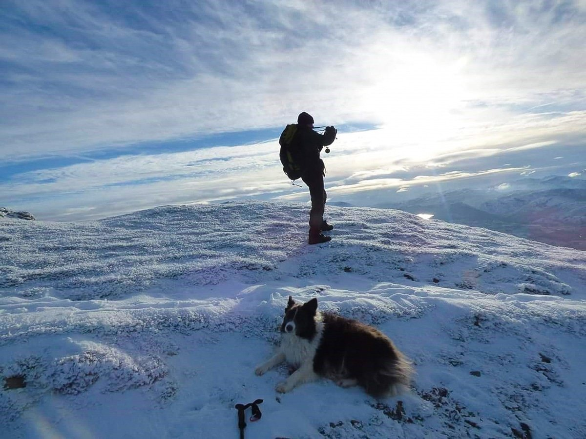 Man hiking on a snowy Blencathra peak with border collie