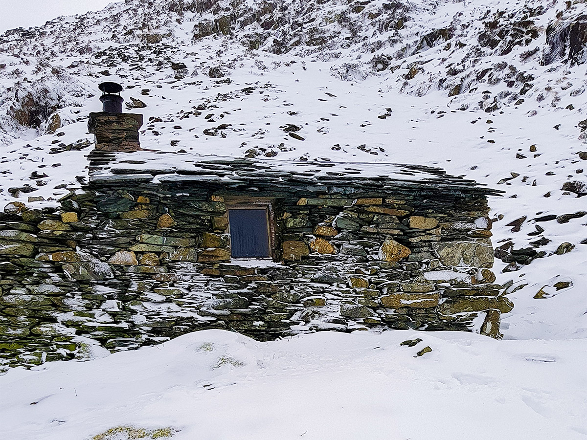 Warnscale Bothy in winter on a hike