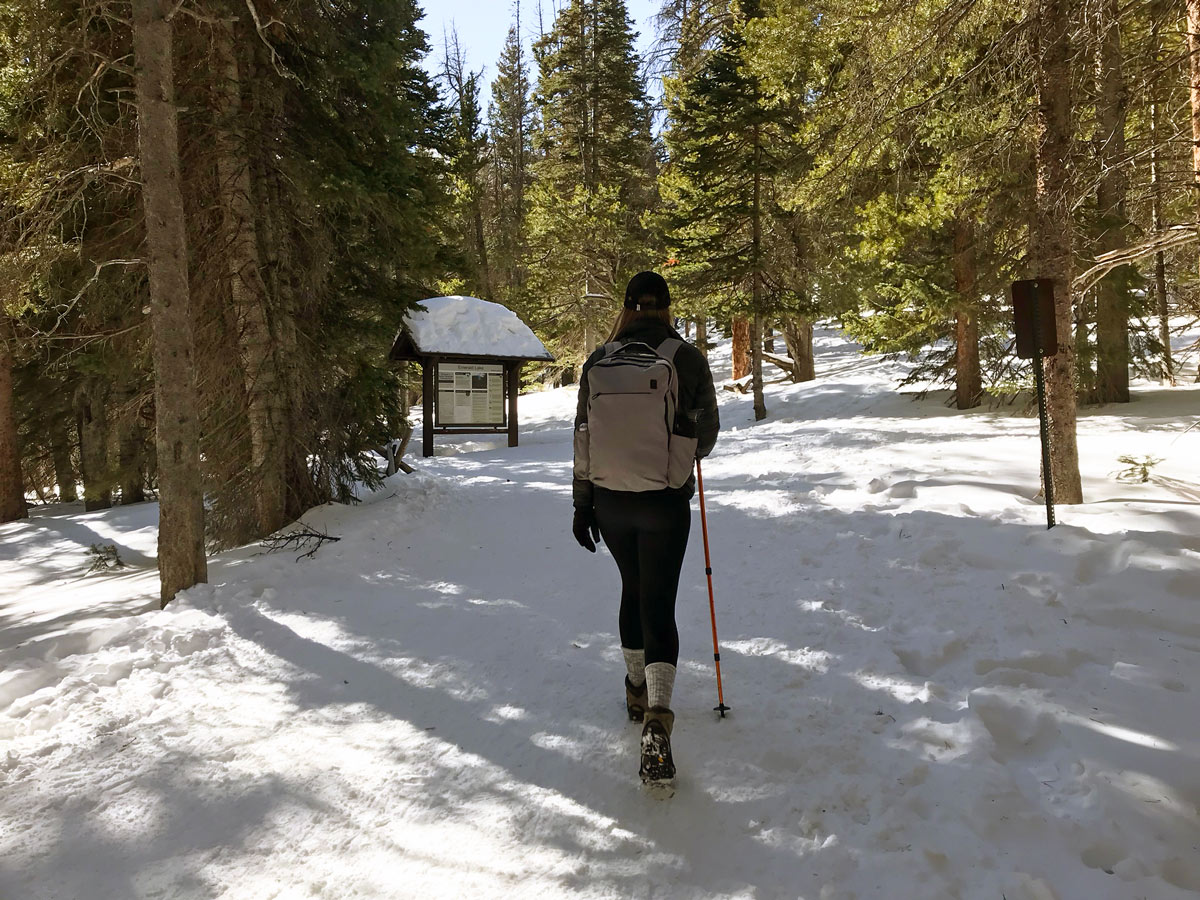 Hiking on Nymph Lake snowshoe trail in Rocky Mountain National Park, Colorado