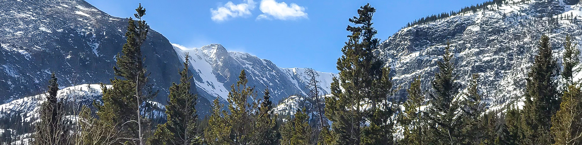 Panorama of Bear Lake trail in Rocky Mountain National Park, Colorado