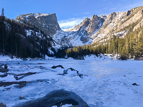 Scenery from Dream Lake snowshoe trail in Rocky Mountain National Park, Colorado