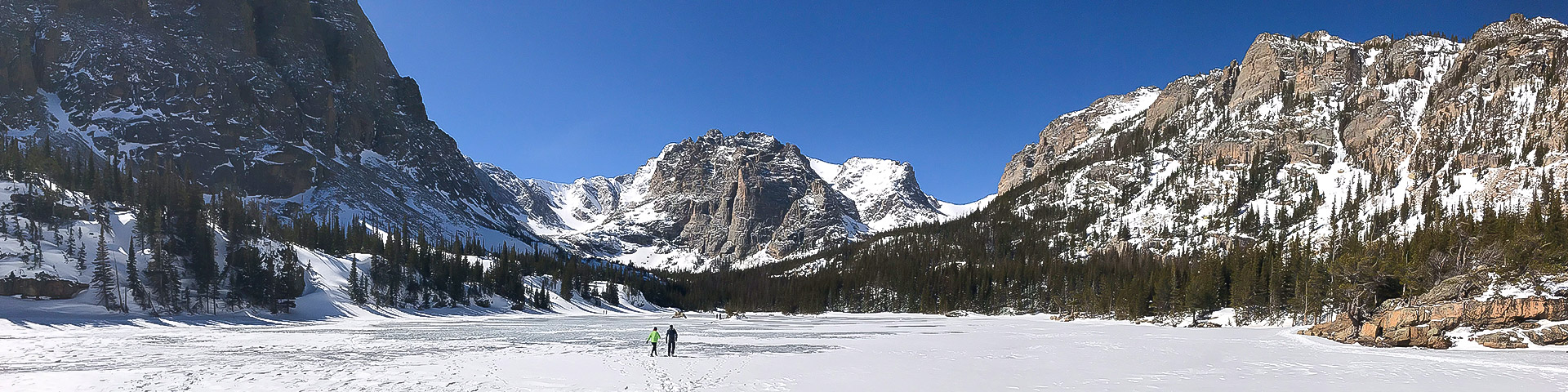 Panorama of The Loch snowshoe trail in Rocky Mountain National Park, Colorado