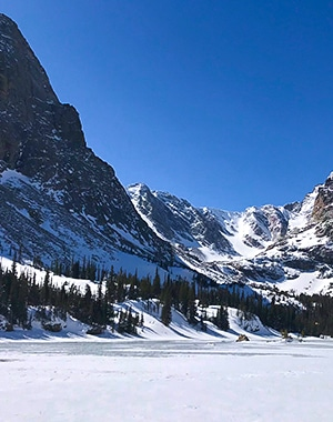 The Loch snowshoe trail in Rocky Mountain National Park, Colorado