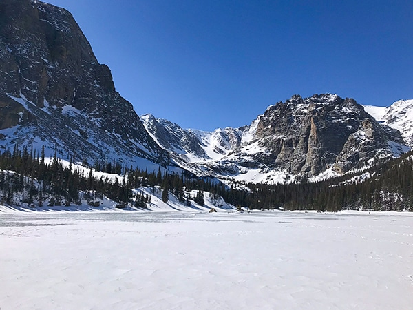 Scenery from The Loch snowshoe trail in Rocky Mountain National Park, Colorado