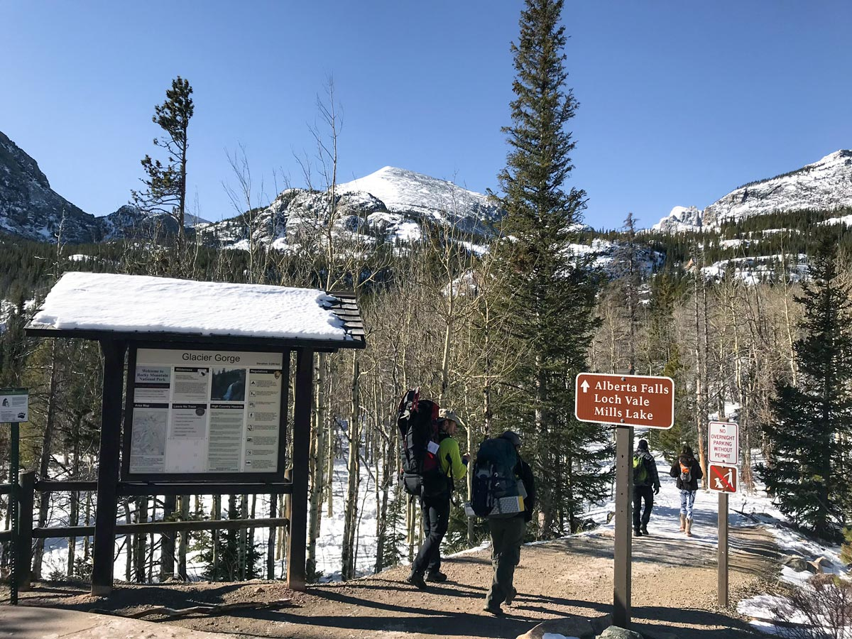 Trailhead of The Loch snowshoe trail in Rocky Mountain National Park, Colorado