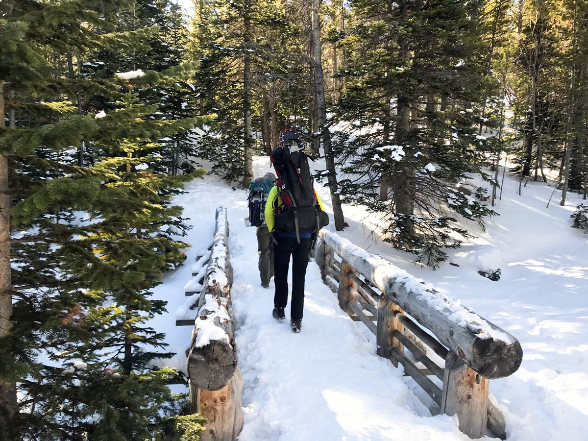Easy trail of The Loch snowshoe trail in Rocky Mountain National Park, Colorado