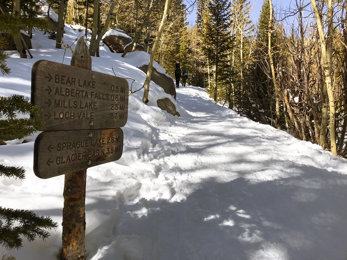 Sign on The Loch snowshoe trail in Rocky Mountain National Park, Colorado