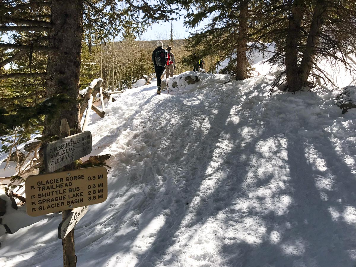 Waypoint on The Loch snowshoe trail in Rocky Mountain National Park, Colorado