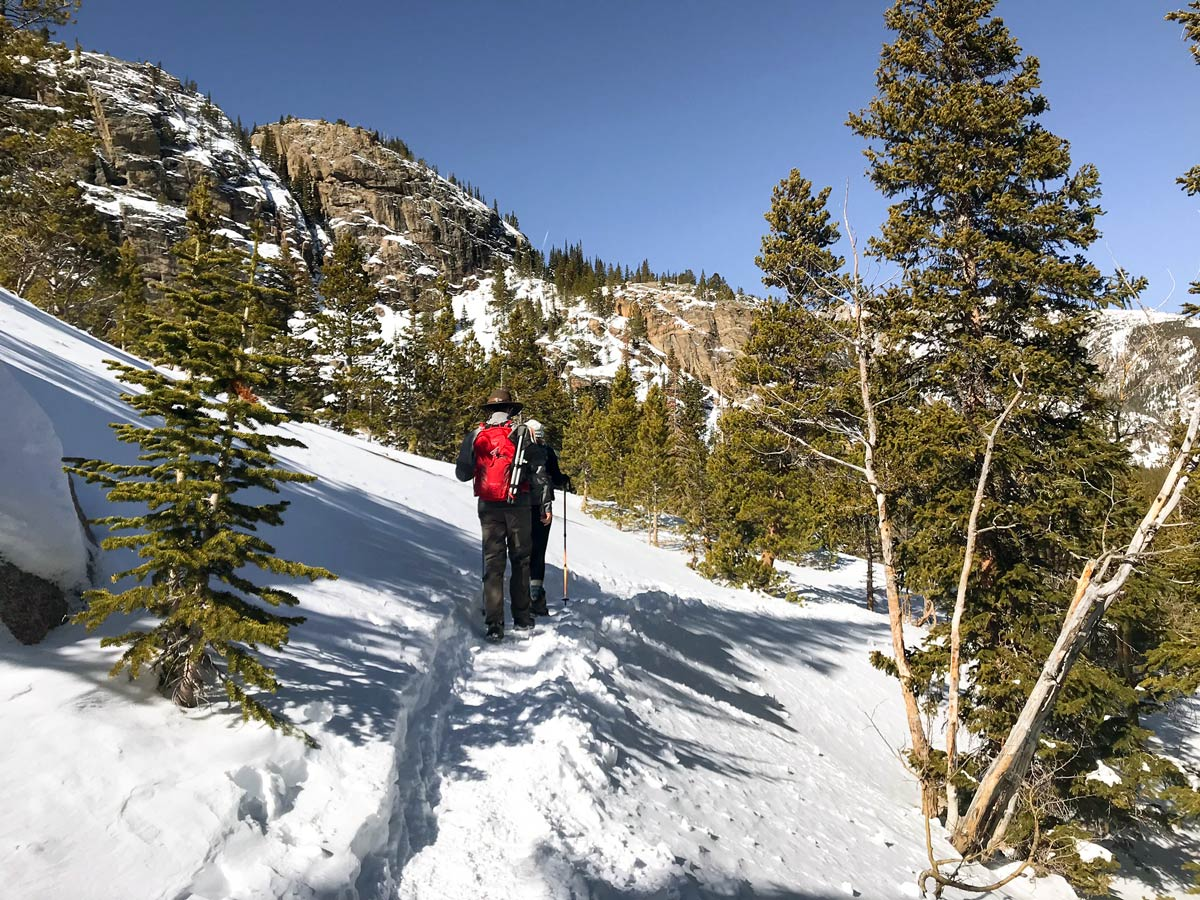Beautiful views on The Loch snowshoe trail in Rocky Mountain National Park, Colorado