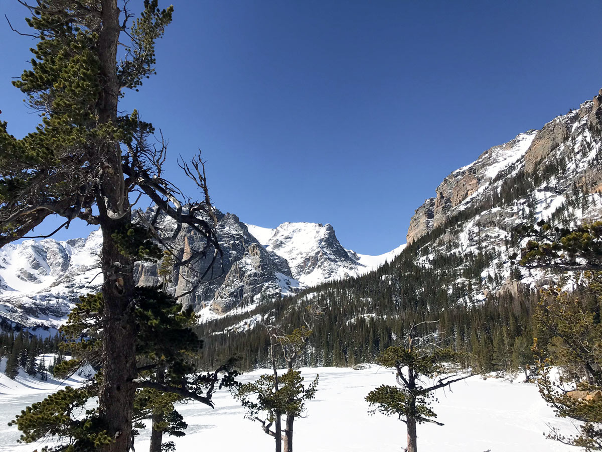 The Loch snowshoe trail in Rocky Mountain National Park covered by snow