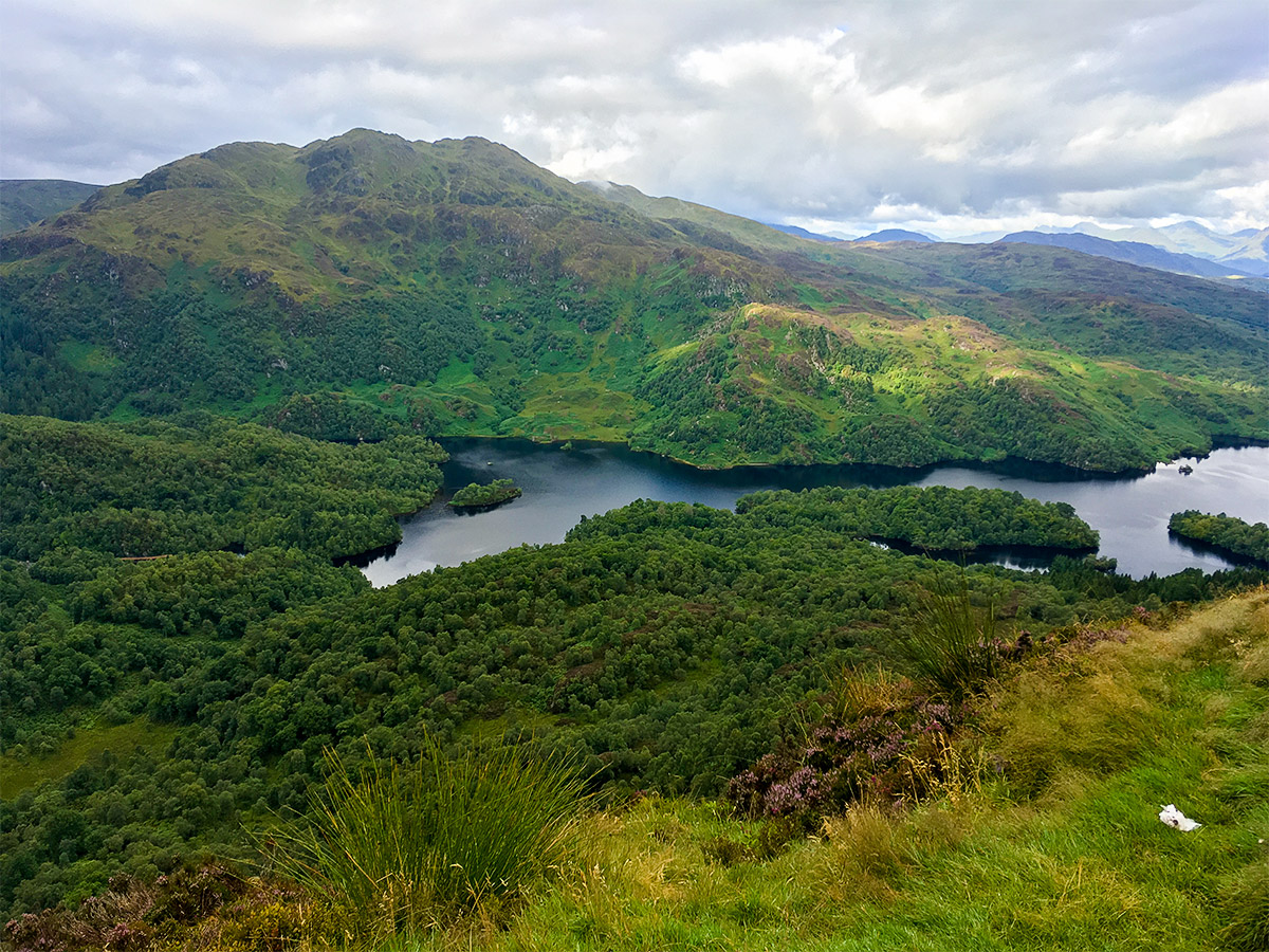 Loch Katrine and Ben Venue from the summit of Ben A'an hike in Loch Lomond and The Trossachs region in Scotland