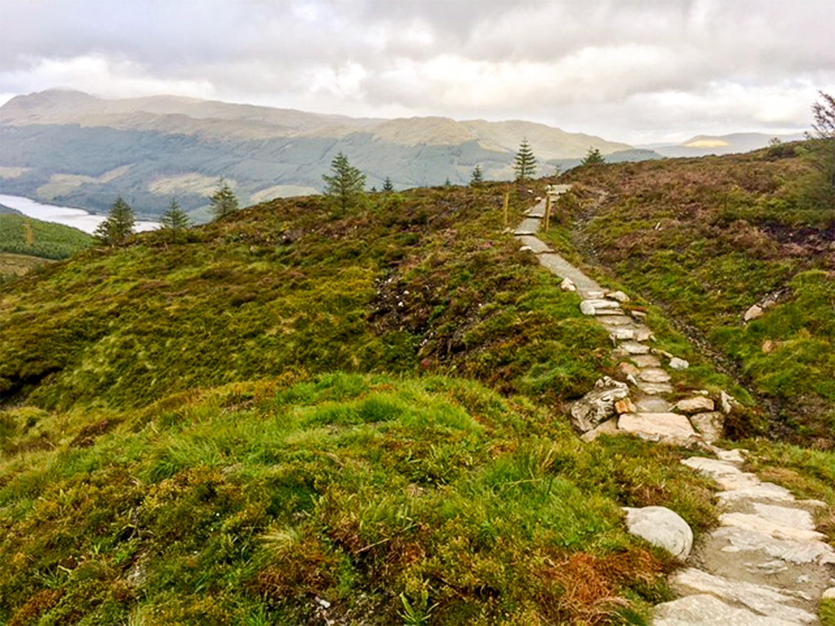 Trail and Loch Lubnaig on Ben Ledi hike in Loch Lomond and The Trossachs area in Scotland