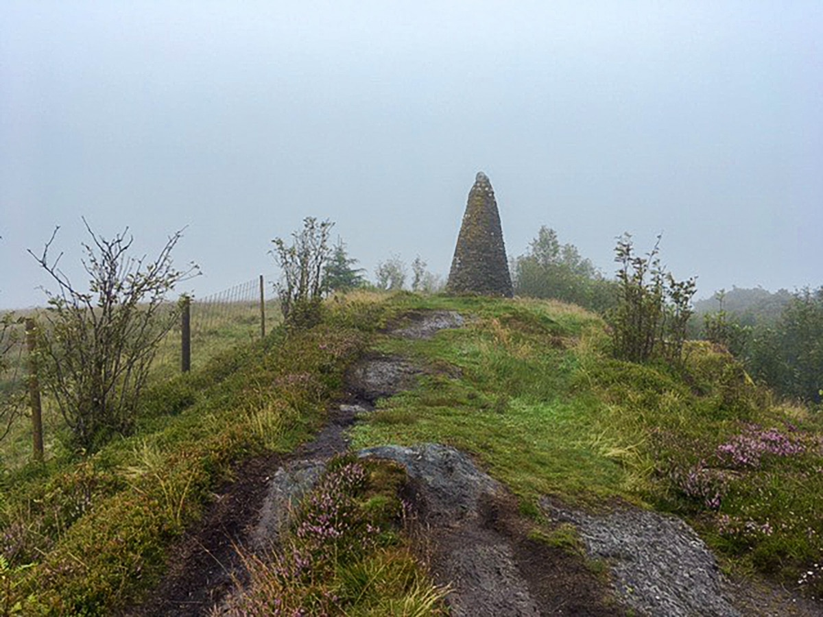 Trail to Jubilee monument on Callander Crags hike in Loch Lomond and The Trossachs region in Scotland