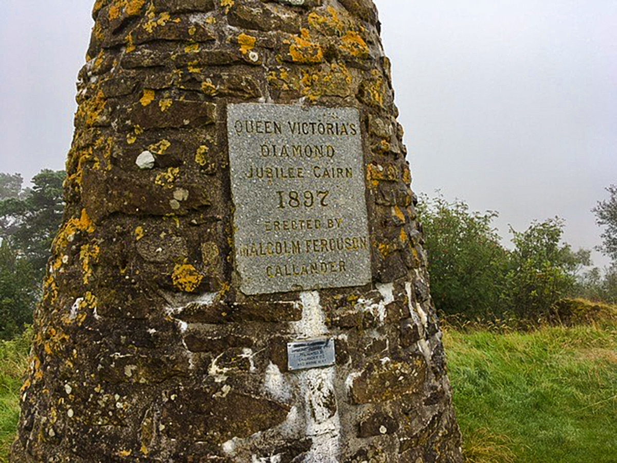 Jubilee monument on Callander Crags hike in Loch Lomond and The Trossachs region in Scotland