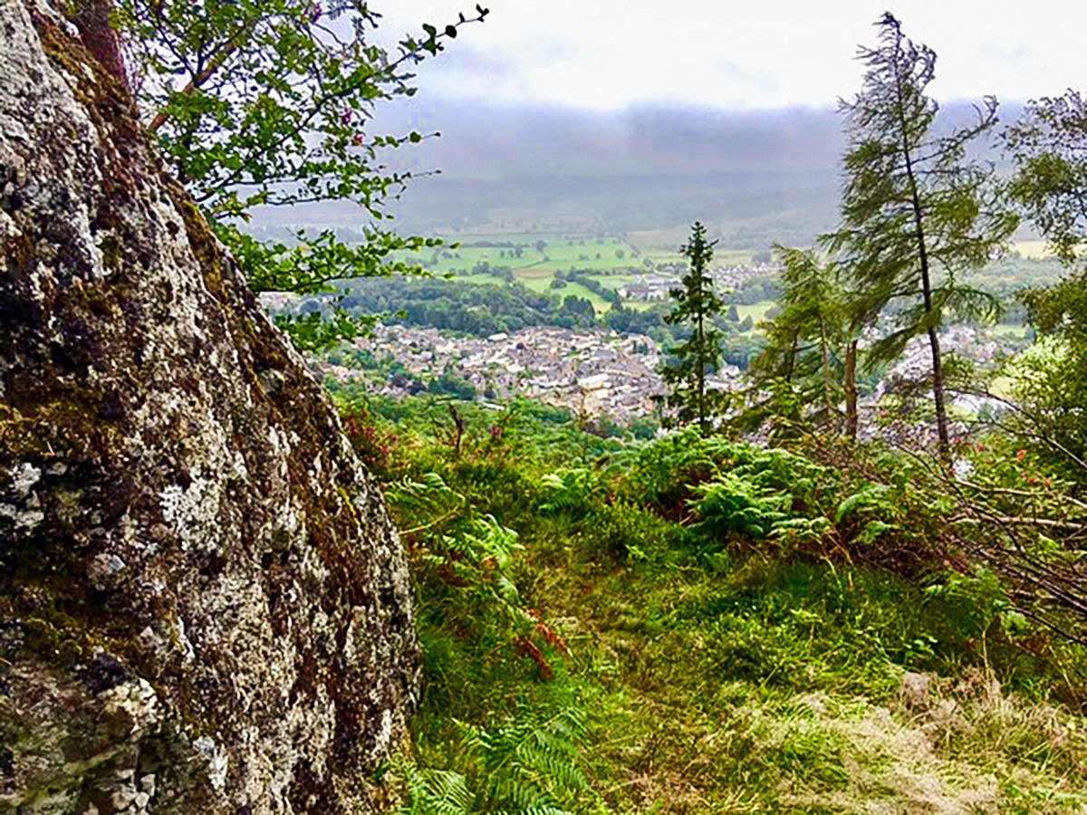 Scenery of Callander Crags hike in Loch Lomond and The Trossachs region in Scotland