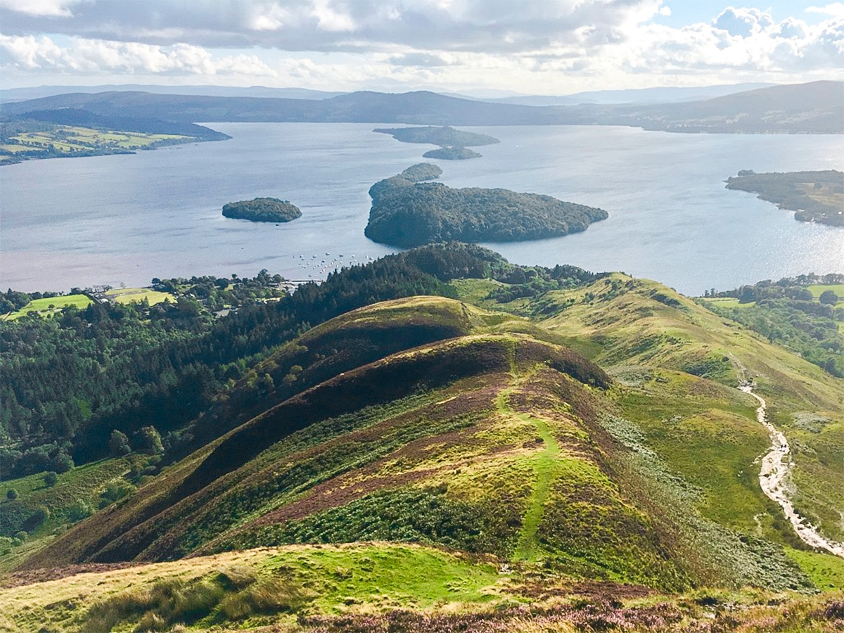 Ridge on Conic Hill hike in Loch Lomond and The Trossachs region in Scotland
