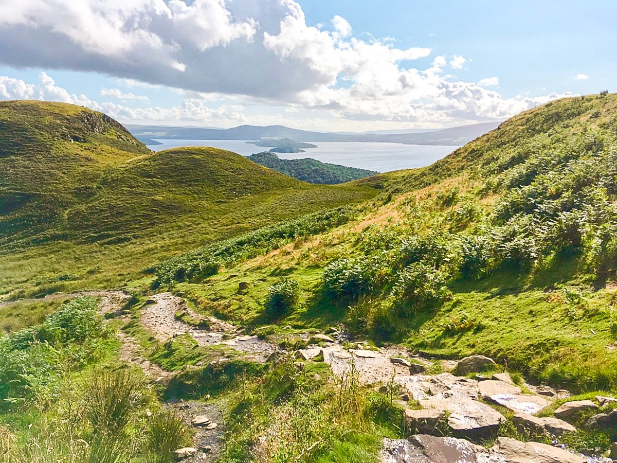 Steep ascent on Conic Hill walk in Loch Lomond and The Trossachs region in Scotland