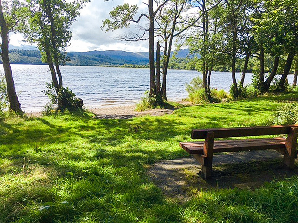 View from the north shore of Loch Venachar hike in Loch Lomond and The Trossachs region in Scotland