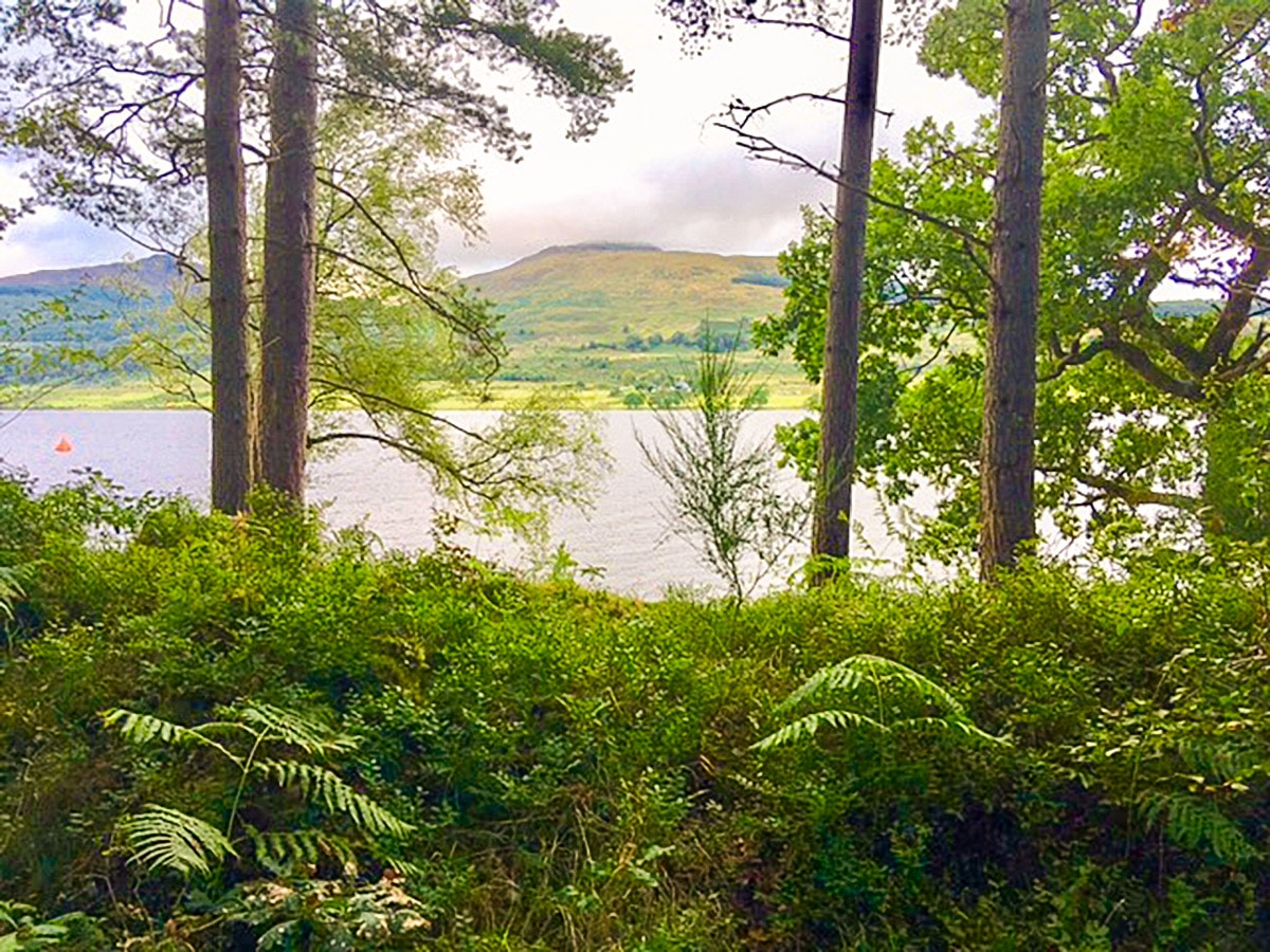 Lake view from south shore on Loch Venachar hike in Loch Lomond and The Trossachs region in Scotland
